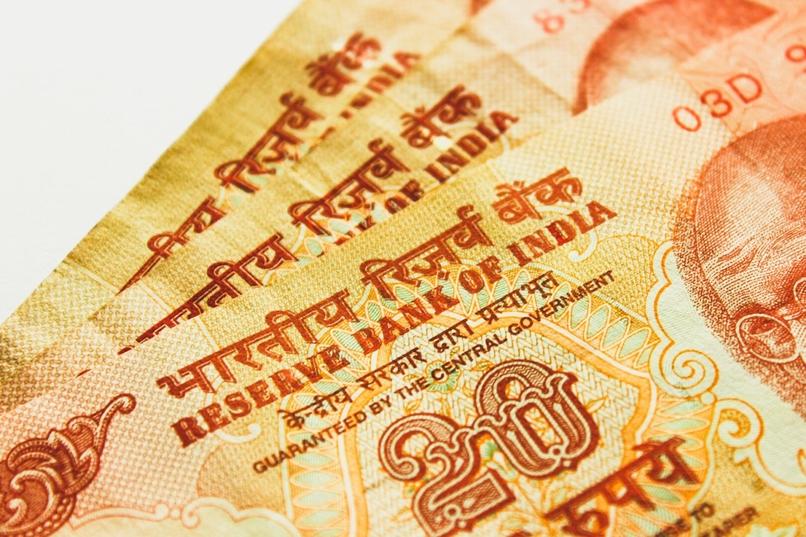 Stack of Indian Rupee bank notes